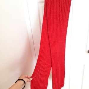 Wool red knitted scarf